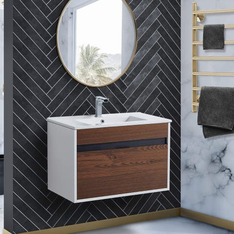 Fine Fixtures - Wall Mount Bathroom Vanity And Sink, Knob Free Design - Alpine Collection -