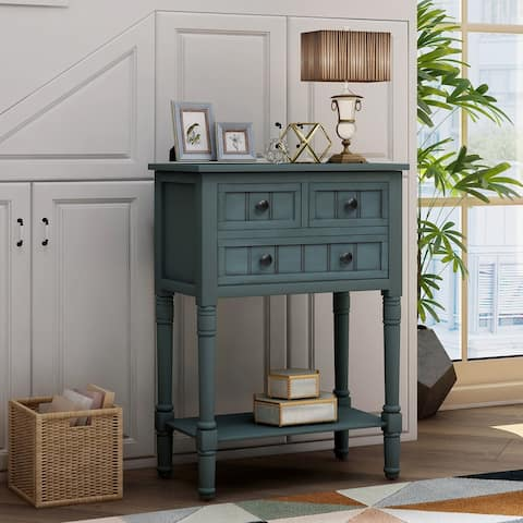 Console Table Sofa Table with Three Storage Drawers and Bottom Shelf