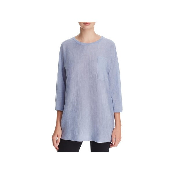 2aaf3792e1 Shop Eileen Fisher Womens Tunic Sweater Wool Sheer - Free Shipping ...