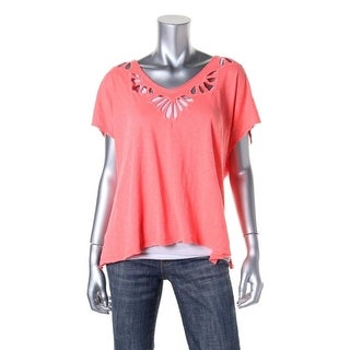 Free People Womens Slub Cut-Out Pullover Top - XS