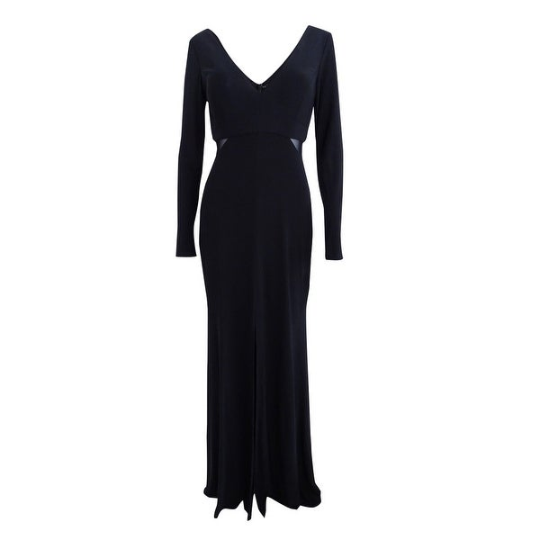 Shop Xscape Women\'s Illusion V-Back Slit Gown - Black - On Sale ...