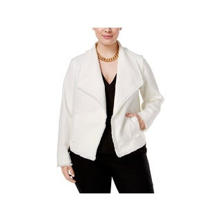 MICHAEL Michael Kors Womens Plus Open-Front Blazer Fringe Tweed