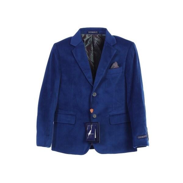 Little Boys Royal Blue 2 Button Formal Velvet Blazer