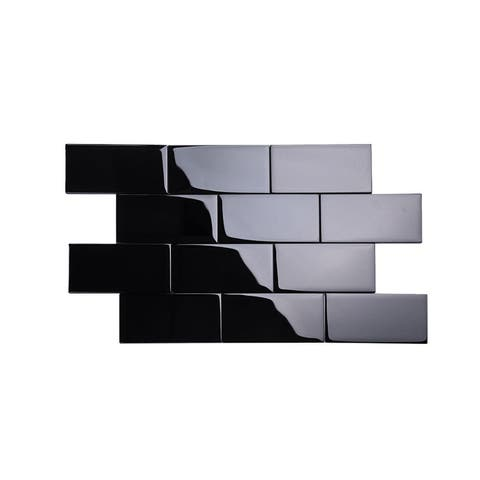 Black 3x6 Glass Subway Tiles