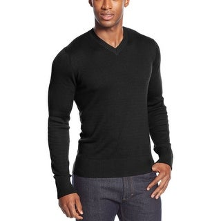 Sean John Textured V-Neck Sweater XX-Large Deep Black Solid Pullover - 2XL