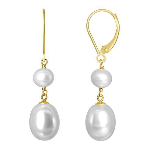 14K White Pearl Drop Leverback Earring