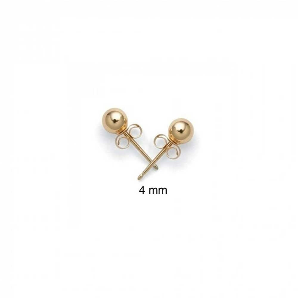 ed911be24 Shop Tiny Simple Hollow Round Ball Stud Earrings For Women Cartilage Real 14K  Yellow Gold 4mm - On Sale - Free Shipping On Orders Over $45 - Overstock -  ...