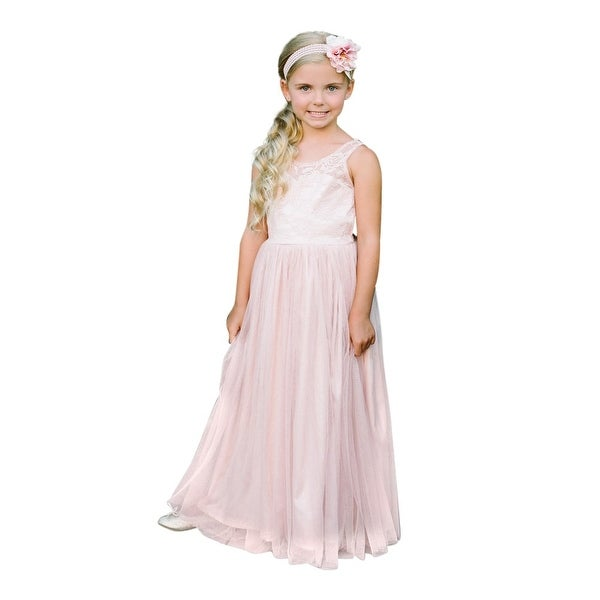 Think Pink Bows Baby Girls Blush Floral Lace Vienna Flower Girl Dress 12-18M