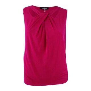 Nine West Woman's Plus Size Asymmetric Top (3X, Ruby Pink) - ruby pink - 3x