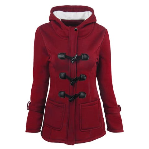 Women Hoodies Wool Coat Horns Button Double Thicken Long Section Hooded Wool Jacket
