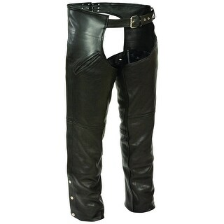 Mens Black Leather Chaps With Mesh Liner And Pocket