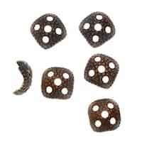 Vintaj Natural Brass, Beaded Square Bead Caps 7mm, 6 Pieces