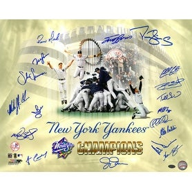 Mike Stanton signed New York Yankees 16x20 Photo 1998 World Series Champions Celebration Collage 18 signatures