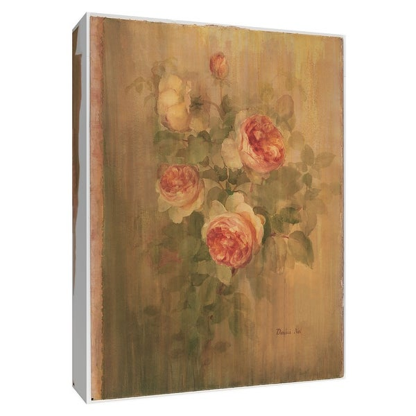 """PTM Images 9-154607 PTM Canvas Collection 10"""" x 8"""" - """"Vintage Roses on Green II"""" Giclee Roses Art Print on Canvas"""