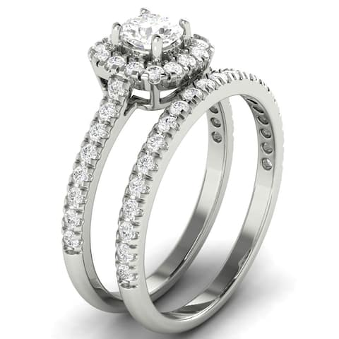 0.95 CT Cushion Shaped Halo Round Diamond Matching Bridal Set in 14KT