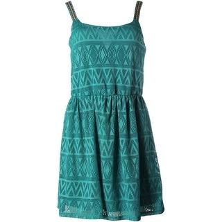 Trixxi Womens Juniors Crochet Overlay Embroidered Casual Dress