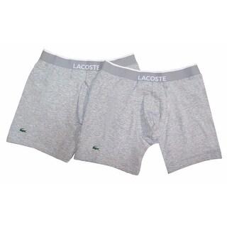 LACOSTE Men's Gray Cotton Blend Logo Knit Boxer Brief Trunk 2 Pack