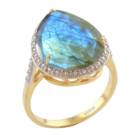 Yellow Gold Over Sterling Silver with Natural Labradorite Solitaire Ring