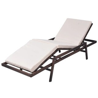 vidaXL Sun Lounger with Cushion Poly Rattan Brown