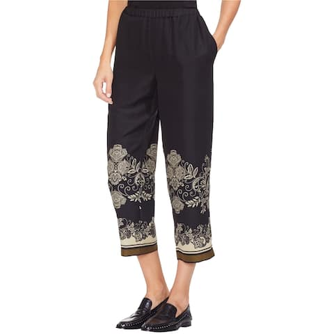Vince Camuto Womens Ornate Casual Cropped Pants, Black, Large
