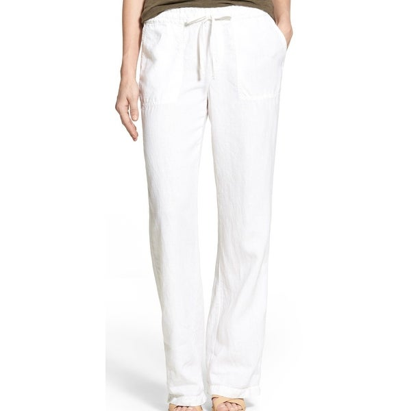 Shop Caslon Optic Womens Drawstring Linen Stretch Pants