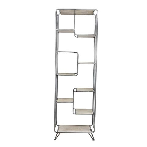 A&B Home Quimby Black and Nautral Staggered Tall Bookshelf