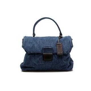 MIU MIU Women's Denim Suede Leather Flap Handbag Purse Satchel Blue - S