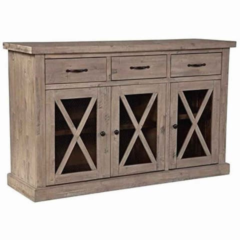 Wooden Sideboard with 3 Drawers and X Front Cabinets, Weathered Oak