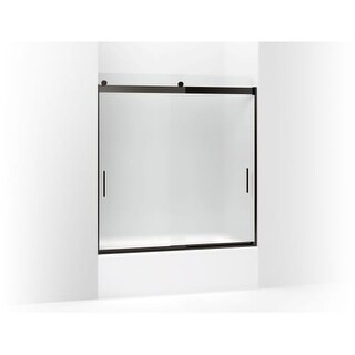 "Kohler K-706000-D3 Levity 62"" Frosted Sliding Shower Door with Grab Bars and CleanCoat Technology"