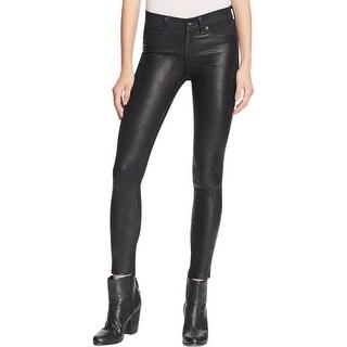 Rag & Bone Womens Hyde Skinny Jeans Lamb Leather Dark Wash