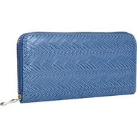 Mad Style Blue Herringbone Zipper Wallet