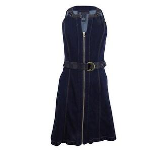 INC International Concepts Women's Belted Denim Sheath Dress (2, Ink Wash) - Ink Wash - 2