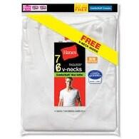 Hanes Men's Tagless V-neck Undershirt 7-pack (includes 1 Free Bonus V-neck)