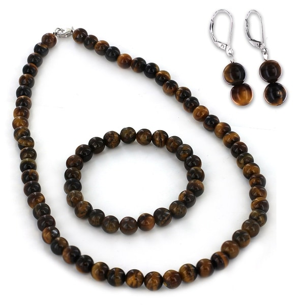 Sterling Silver Tiger's Eye Bracelet Earring and Necklace Set