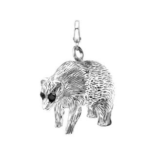 Manhattan Collection: Wall Street Bear Charm in 14K White Gold - Black