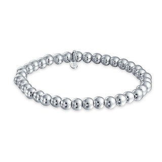 Bling Jewelry Sterling Silver 6mm Bead Stretch Bracelet Stackable 7.5 Inch
