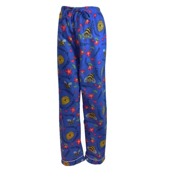 Women's Fleece Multi Pattern Pajamas Pants (Blue)