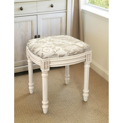 Taupe Tuscan Floral Vanity Stool antique white finish