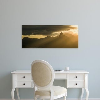 Easy Art Prints Panoramic Image 'View of city from Sugarloaf Mountain at dusk, Rio de Janeiro, Brazil' Canvas Art