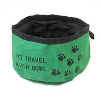 "Unique Bargains Portable Travel Outdoor 6.3"" Dia Green Black Cat Puppy Pet Food Water Bowl"