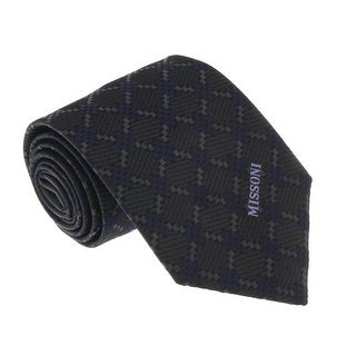 Missoni U5638 Grey/Navy Diamond 100% Silk Tie - 60-3