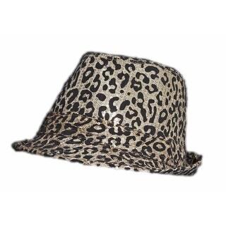 Leopard Print Sequin Fedora - Gold - Small/Medium - S/M