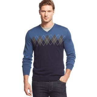 Club Room Merino Blend Colorblock Argyle V-Neck Sweater Navy Blue and Grey|https://ak1.ostkcdn.com/images/products/is/images/direct/ddc936ff2216567dc58802df0b98a4893a747bb3/Club-Room-Merino-Blend-Colorblock-Argyle-V-Neck-Sweater-Navy-Blue-and-Grey.jpg?impolicy=medium