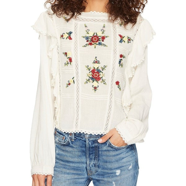 3193b36ff20c37 Free People White Women's Large Lace Trim Floral Embroidered Top