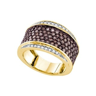 10kt Yellow Gold Womens Round Cognac-brown Colored Diamond Cocktail Fashion Ring 1 & 1/2 Cttw - Brown/White