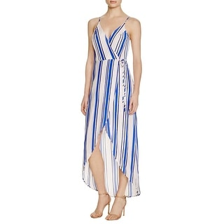 ASTR Womens Donna Wrap Dress Striped Hi-Low