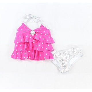 Love U Lots NEW Pink Silver Girl 6 Heart-Print Metallic Ruffle 2-PC Swim