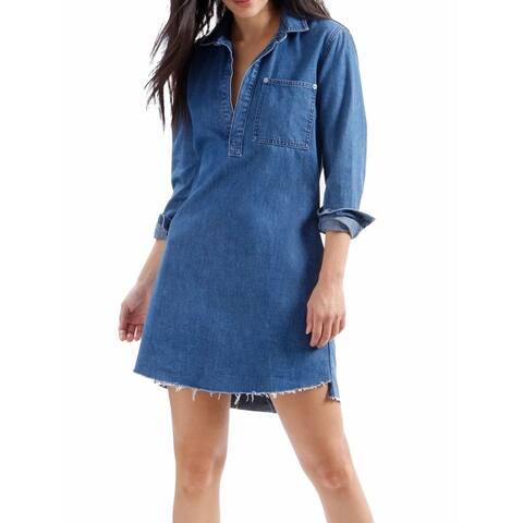 Lucky Brand Blue Women's Size XS Denim Split-Hem Shift Dress