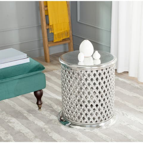 "SAFAVIEH Metal Silver Lace Table Stool - 18.3"" x 18.3"" x 21"""