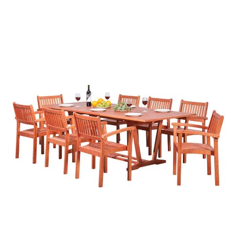 Surfside 9-piece Wood Outdoor Dining Set with Rectangular Extension Table and Stacking Chairs by Havenside Home